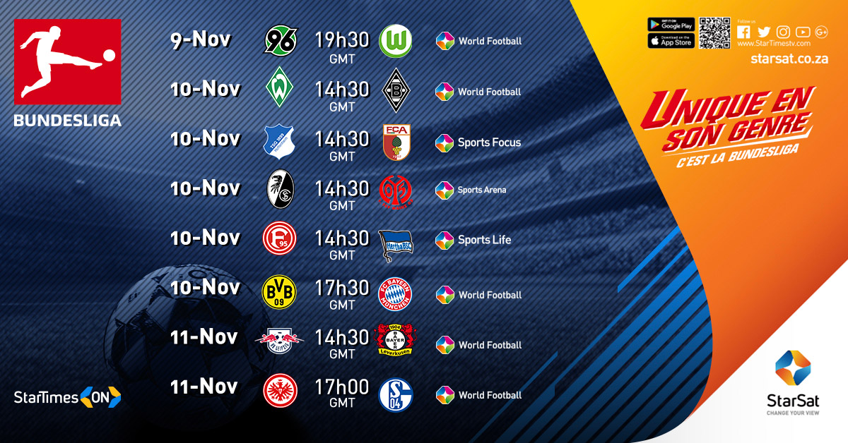 Bundesliga Fixtures on StarSat